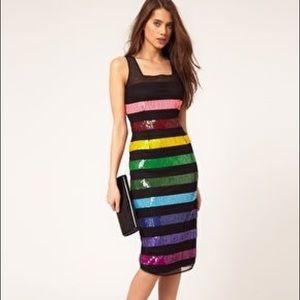 ASOS rainbow on black midi Stunning sequin dress